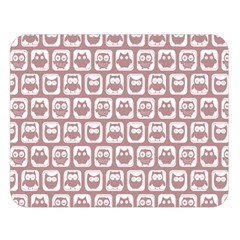 Light Pink And White Owl Pattern Double Sided Flano Blanket (Large)