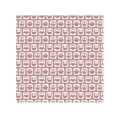 Light Pink And White Owl Pattern Small Satin Scarf (square)