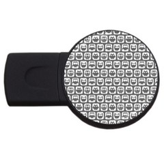 Gray And White Owl Pattern USB Flash Drive Round (1 GB)