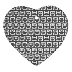 Gray And White Owl Pattern Heart Ornament (2 Sides)