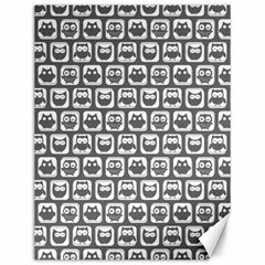 Gray And White Owl Pattern Canvas 12  X 16