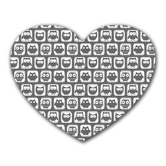 Gray And White Owl Pattern Heart Mousepads