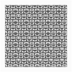 Gray And White Owl Pattern Medium Glasses Cloth (2-Side)