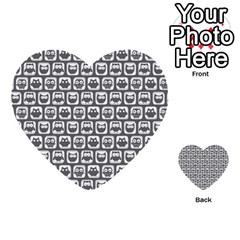 Gray And White Owl Pattern Multi Purpose Cards (heart)