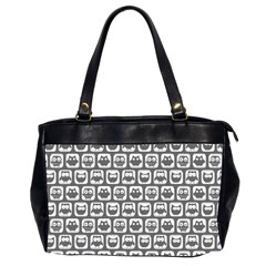 Gray And White Owl Pattern Office Handbags (2 Sides)