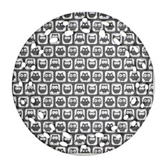 Gray And White Owl Pattern Ornament (Round Filigree)