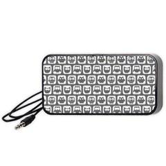 Gray And White Owl Pattern Portable Speaker (Black)