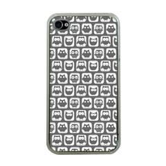 Gray And White Owl Pattern Apple iPhone 4 Case (Clear)