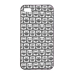 Gray And White Owl Pattern Apple iPhone 4/4s Seamless Case (Black)