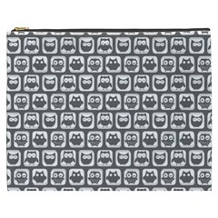 Gray And White Owl Pattern Cosmetic Bag (XXXL)