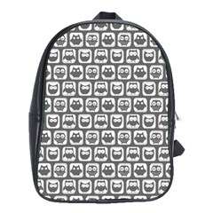 Gray And White Owl Pattern School Bags (XL)