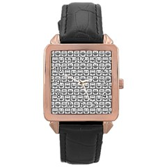 Gray And White Owl Pattern Rose Gold Watches