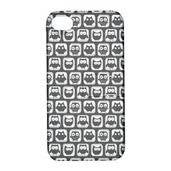 Gray And White Owl Pattern Apple iPhone 4/4S Hardshell Case with Stand