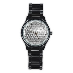 Gray And White Owl Pattern Stainless Steel Round Watches