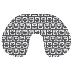 Gray And White Owl Pattern Travel Neck Pillows