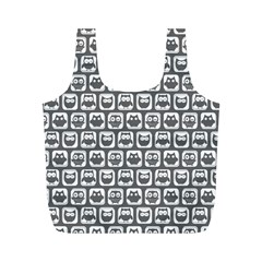 Gray And White Owl Pattern Full Print Recycle Bags (M)