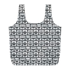 Gray And White Owl Pattern Full Print Recycle Bags (L)