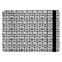 Gray And White Owl Pattern Samsung Galaxy Tab Pro 12 2  Flip Case
