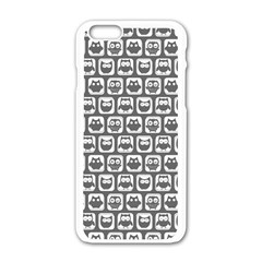 Gray And White Owl Pattern Apple iPhone 6 White Enamel Case