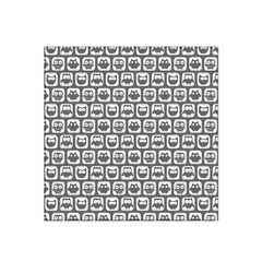 Gray And White Owl Pattern Satin Bandana Scarf