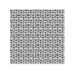Gray And White Owl Pattern Small Satin Scarf (Square)