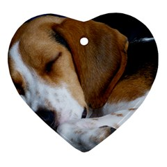 Beagle Sleeping Ornament (Heart)