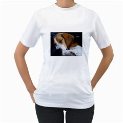 Beagle Sleeping Women s T-Shirt (White) (Two Sided)