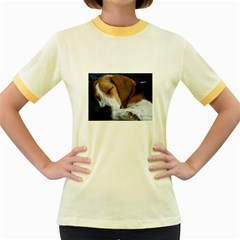 Beagle Sleeping Women s Fitted Ringer T-Shirts