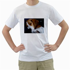 Beagle Sleeping Men s T-Shirt (White) (Two Sided)