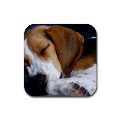 Beagle Sleeping Rubber Square Coaster (4 pack)