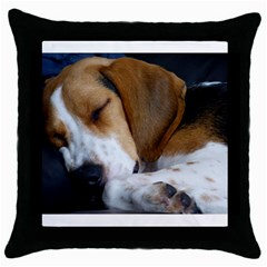 Beagle Sleeping Throw Pillow Cases (Black)