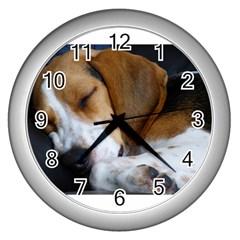 Beagle Sleeping Wall Clocks (Silver)