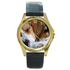 Beagle Sleeping Round Gold Metal Watches