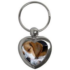 Beagle Sleeping Key Chains (Heart)