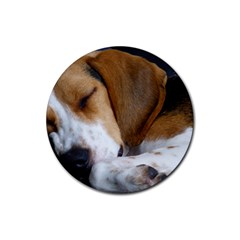 Beagle Sleeping Rubber Round Coaster (4 pack)