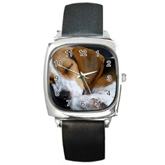 Beagle Sleeping Square Metal Watches