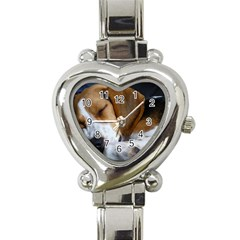 Beagle Sleeping Heart Italian Charm Watch