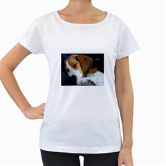 Beagle Sleeping Women s Loose-Fit T-Shirt (White)