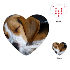 Beagle Sleeping Playing Cards (Heart)