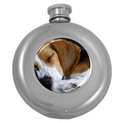 Beagle Sleeping Round Hip Flask (5 oz)