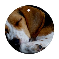 Beagle Sleeping Round Ornament (Two Sides)