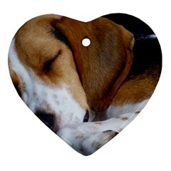 Beagle Sleeping Heart Ornament (2 Sides)