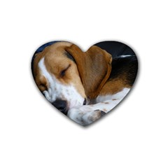 Beagle Sleeping Rubber Coaster (Heart)