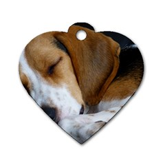 Beagle Sleeping Dog Tag Heart (One Side)