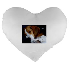 Beagle Sleeping Large 19  Premium Heart Shape Cushions