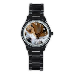 Beagle Sleeping Stainless Steel Round Watches
