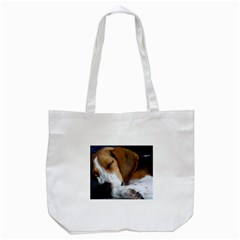 Beagle Sleeping Tote Bag (White)