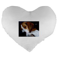 Beagle Sleeping Large 19  Premium Flano Heart Shape Cushions