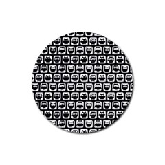 Black And White Owl Pattern Rubber Coaster (Round)