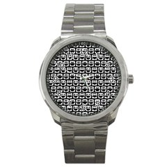 Black And White Owl Pattern Sport Metal Watches